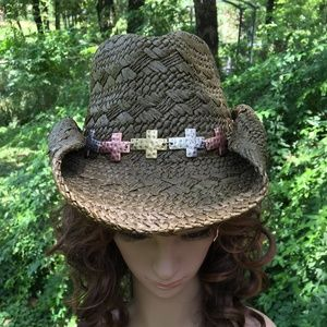 Brown Straw Cowboy Hat